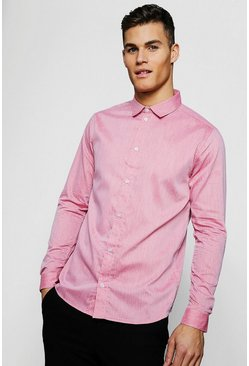 Mens Red Textured Oxford Dobby Long Sleeve Smart Shirt