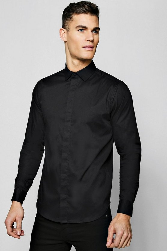 Black MAN Gold Embroidered Muscle Fit Shirt
