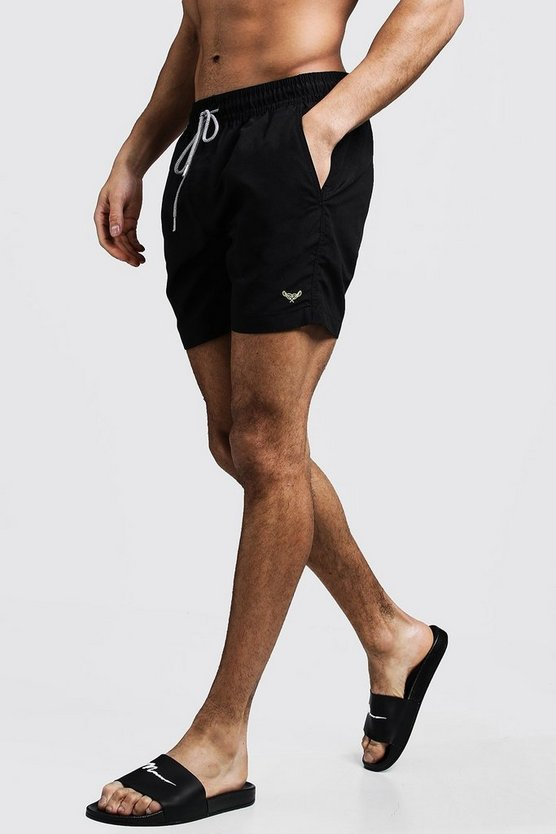 Black Mid Length Swim Short With Stripe Drawcord