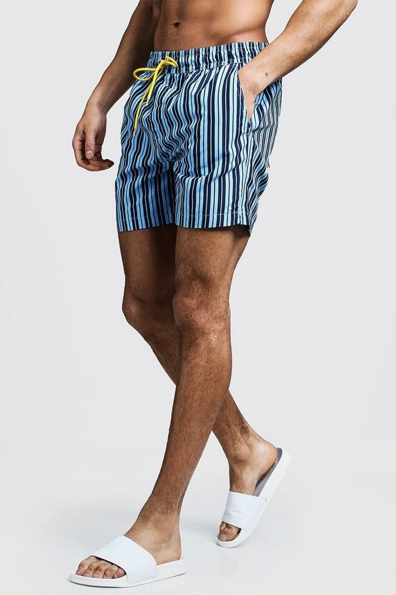 Mid Length Stripe Swim Short