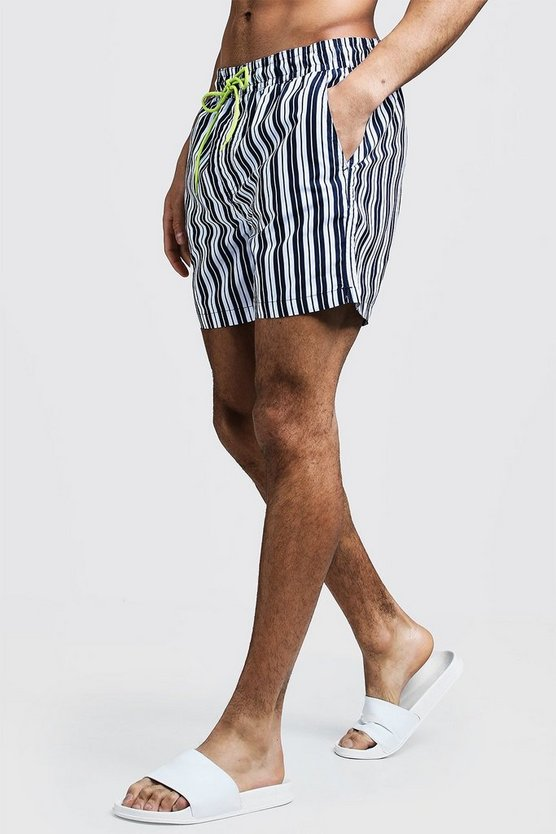 Mens Blue Mid Length Stripe Swim Short