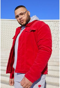 Veste en velours côtelé à doublure mouton Big And Tall, Rouge, Homme