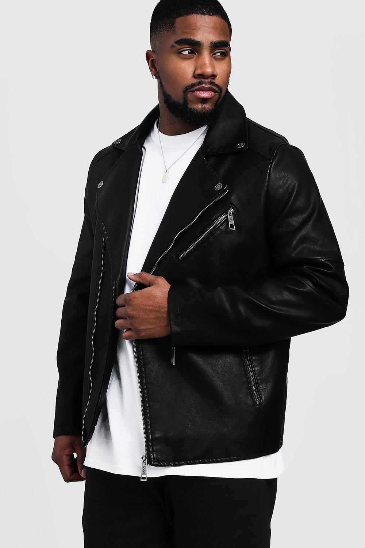 07eca0629 Big and Tall Faux Leather Biker Jacket - boohooMAN