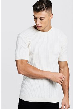Mens White Short Sleeve Ribbed Knitted T-Shirt