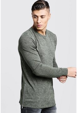 Mens Khaki Crew Neck Knitted Side Zip Jumper
