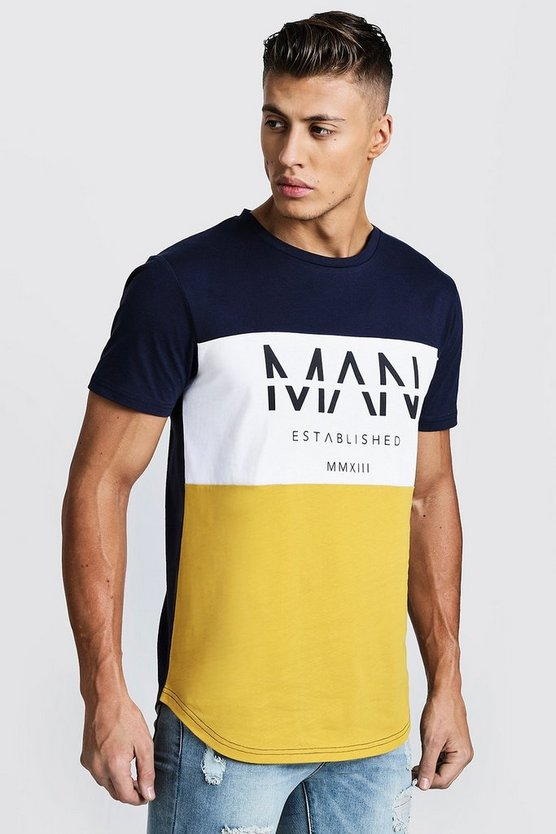 Mustard Colour Block MAN T-Shirt With Curve Hem