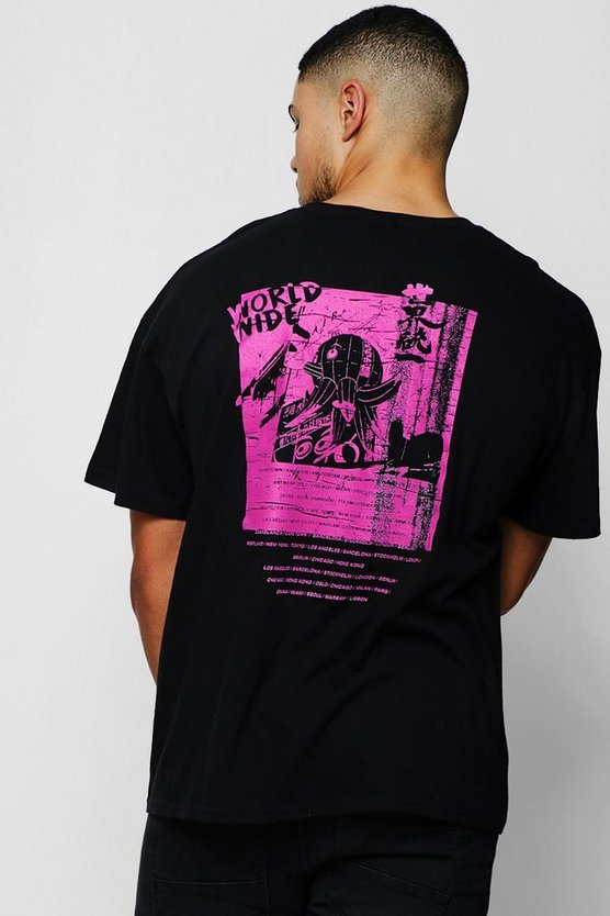 Black Neon Pink Back Print T-Shirt