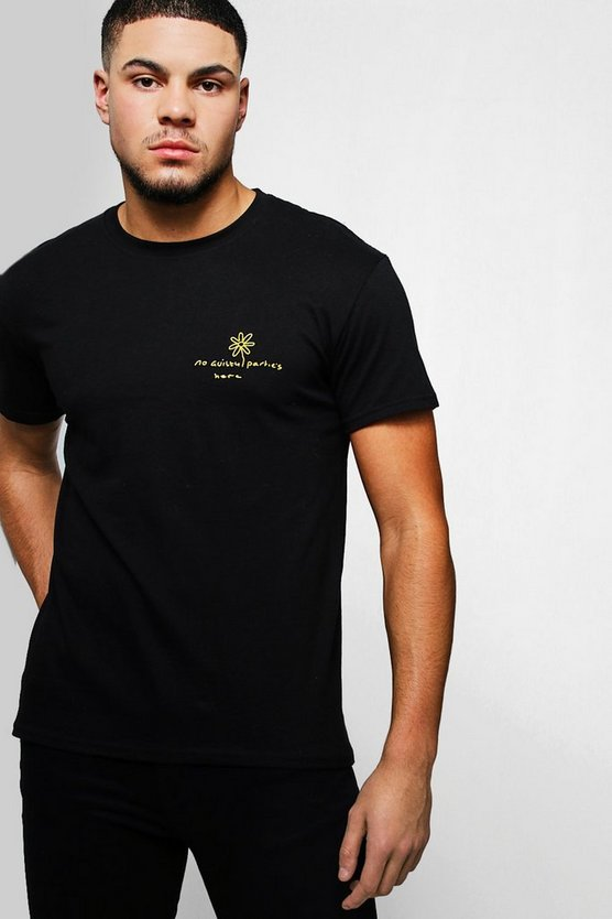 Black Not Guilty Placement Print T-Shirt
