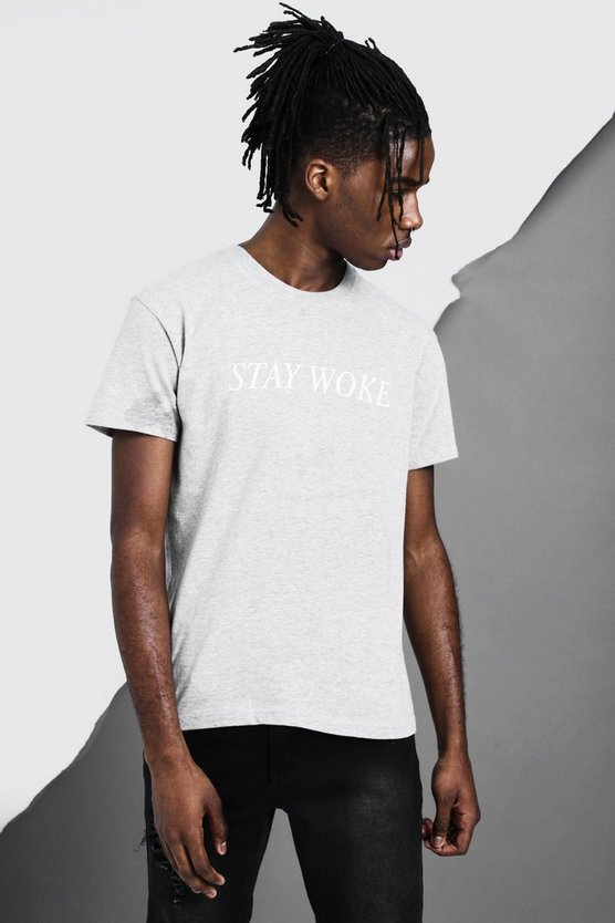 Grey Stay Woke Slogan T-Shirt