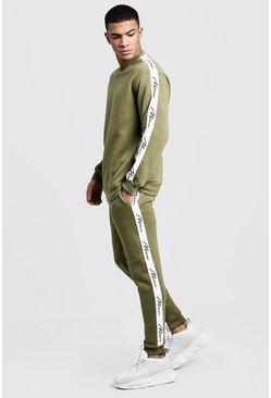 Mens Olive MAN Signature Tape Sweater Tracksuit