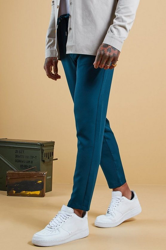 Mens Teal Plain Smart Jogger Trouser