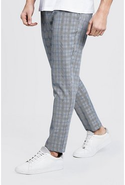 Mens Blue Ice Cream Check Smart Jogger Trouser