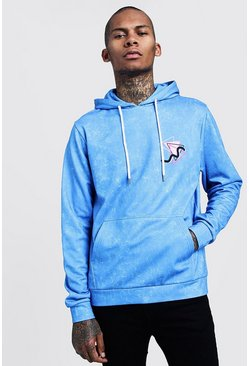 Mens Blue Neon Washed Slogan Print Hoodie