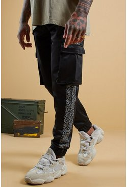 Mens Black Leopard Side Panel Tricot Cargo Jogger