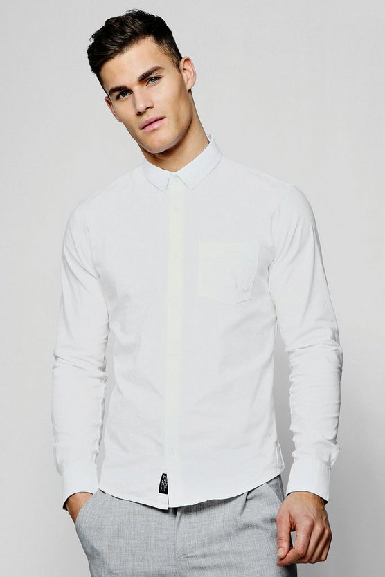 White Long Sleeve Cotton Oxford Shirt