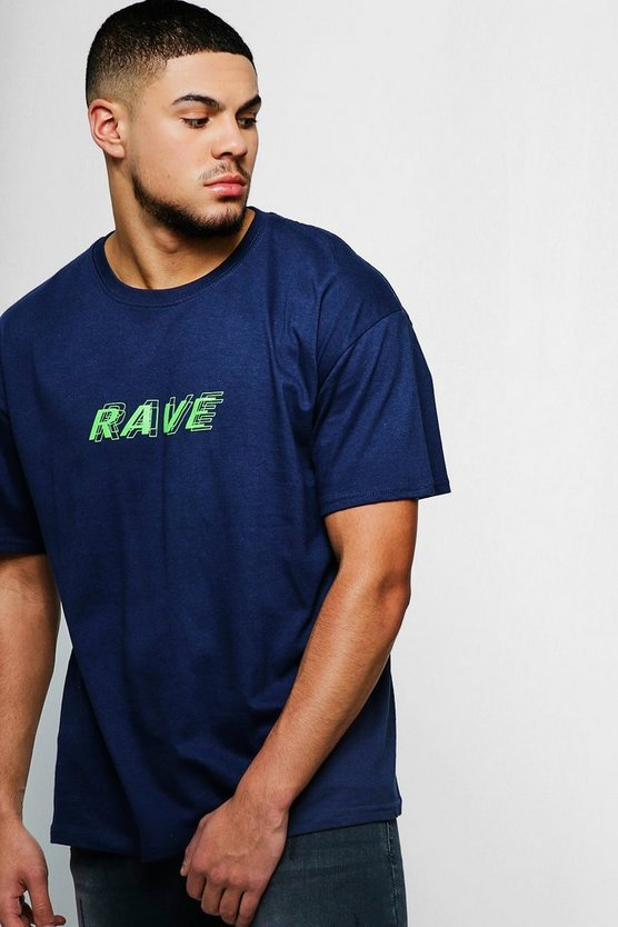 Navy Loose Fit Rave Neon Print T-Shirt