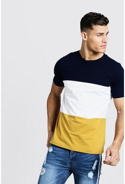 T-shirt ras du cou Colorblock, Moutarde, Homme