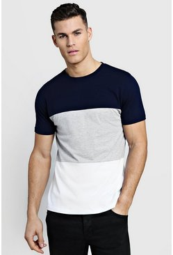 Mens Grey Crew Neck Colour Block T-Shirt