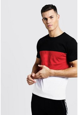 Mens Red Crew Neck Colour Block T-Shirt