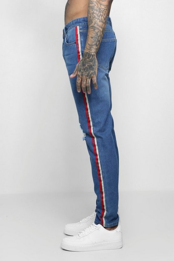 Mid blue Skinny Fit Distressed Side Tape Jeans