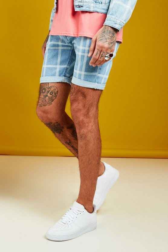 Slim Fit Denim Shorts With Check Print