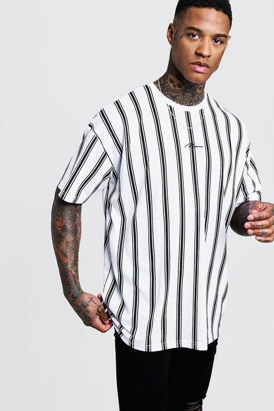 Mens White Oversized Stripe MAN Signature T-Shirt