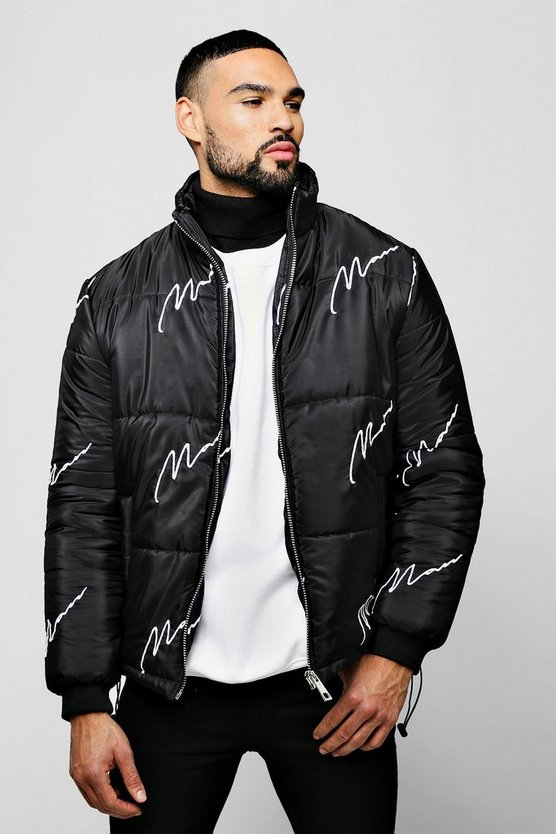 Black MAN Embroidered Script Puffer