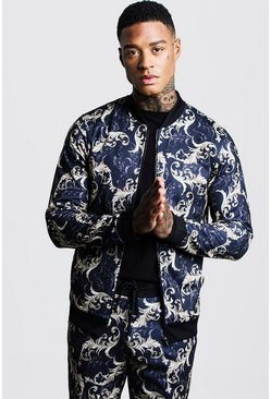 Mens Multi Baroque Printed Bomber