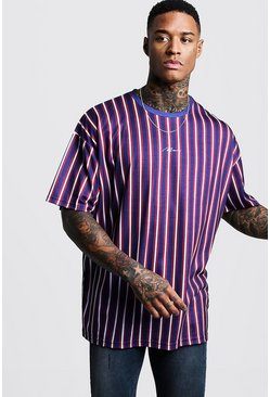 Navy Oversized Stripe MAN Signature T-Shirt