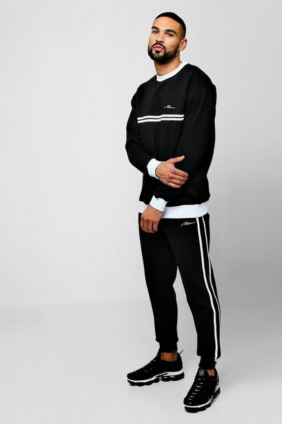 Black Sweater MAN Signature Tracksuit With Contrast Tape