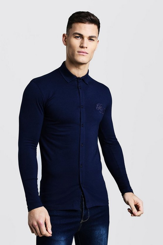 Navy Long Sleeve Muscle Fit Jersey Shirt with BM Logo