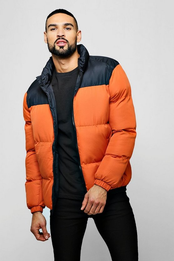 Orange Colour Block Funnel Neck Puffer
