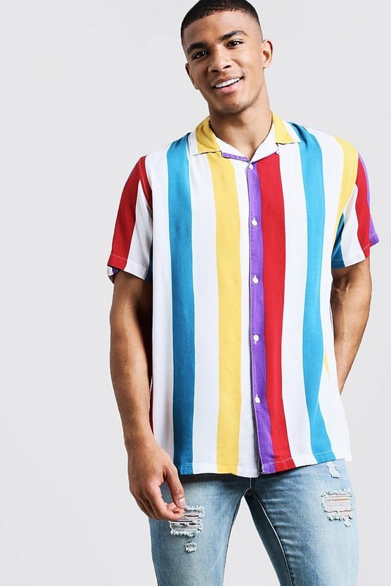 White Bright Stripe Short Sleeve Revere Viscose Shirt