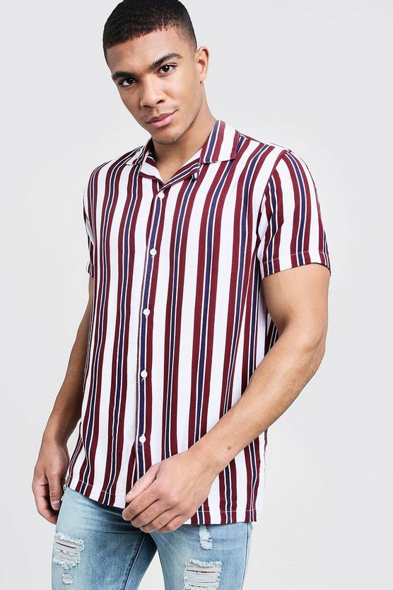 Mens White Short Sleeve Stripe Revere Viscose Shirt