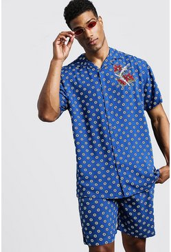 Mens Blue Geo Floral Short Sleeve Revere Tape Shirt