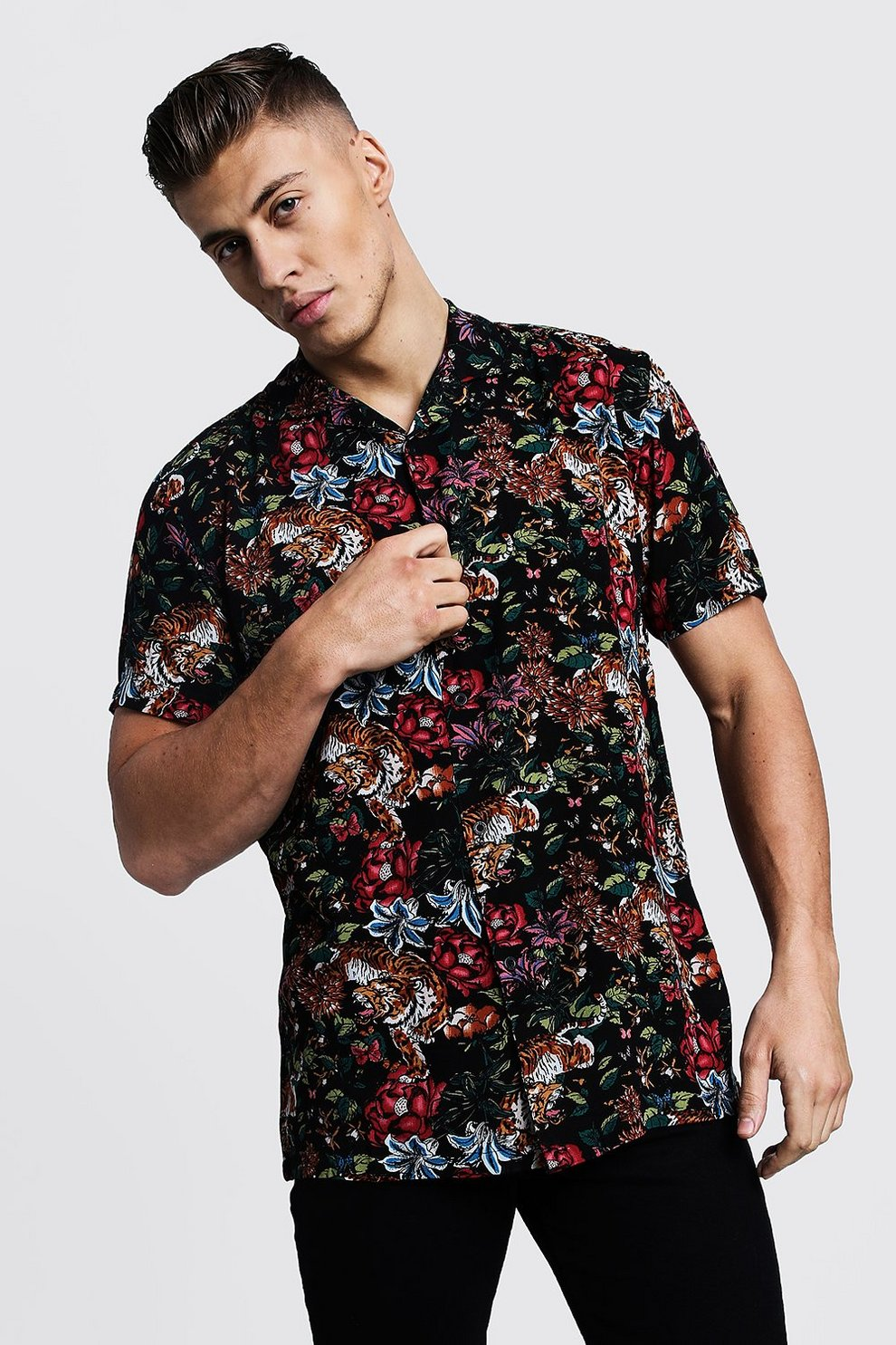 898f5041 Mens Black Floral Tiger Print Short Sleeve Revere Shirt. Hover to zoom