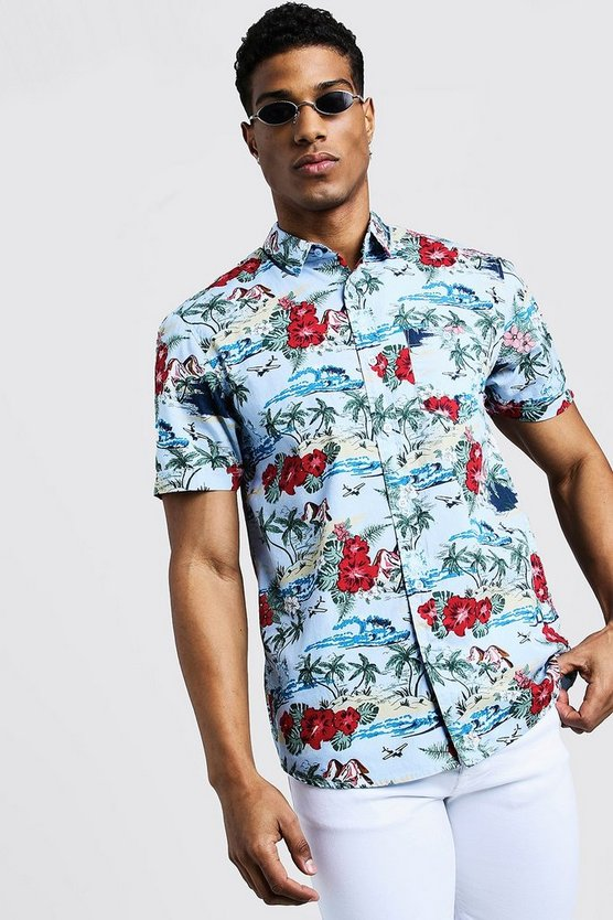 Mens Blue Hawaiian Print Short Sleeve Cotton Shirt