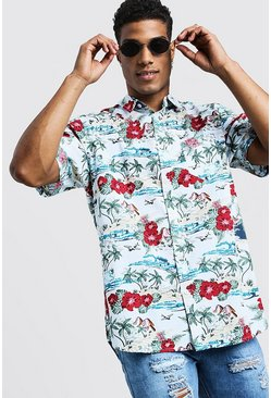 Mens White Hawaiian Print Short Sleeve Cotton Shirt