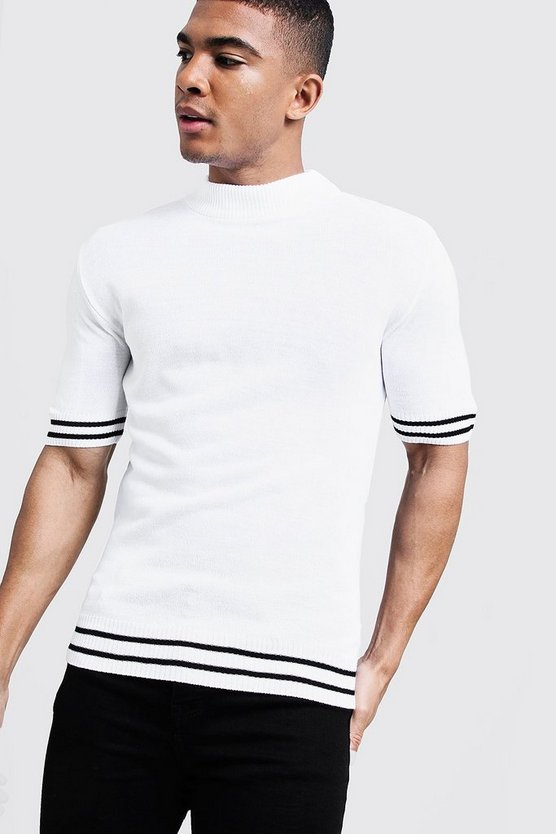 Mens White Muscle Fit Turtle Neck Stripe Detail Knitted Tee