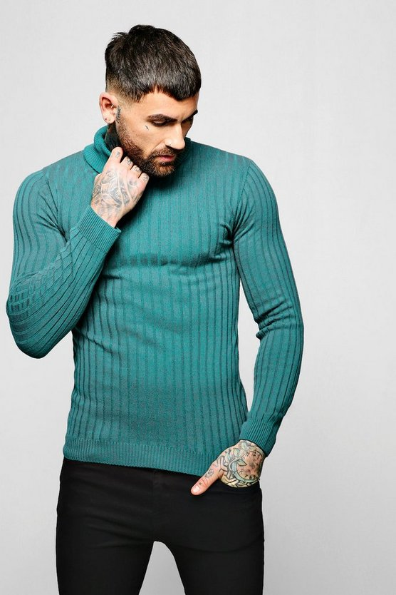 Jade Muscle Fit Ribbed Long Sleeve Roll Neck Sweater