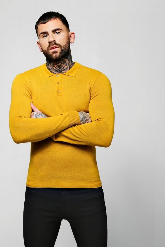 Mens Mustard Muscle Fit Long Sleeve Knitted Polo