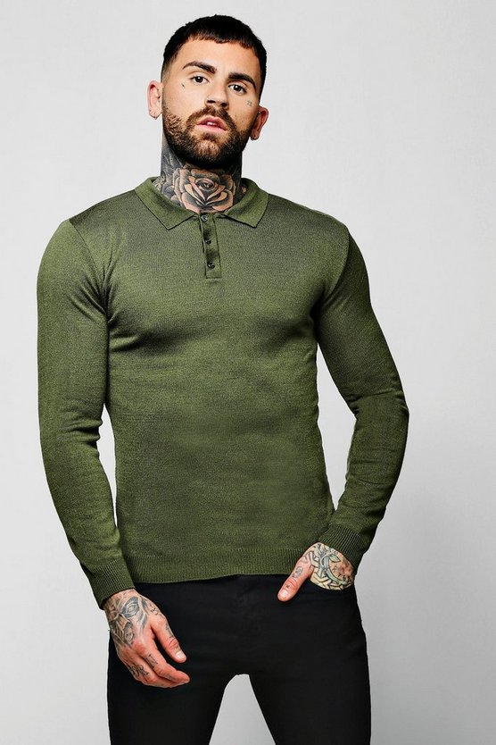 Mens Olive Muscle Fit Long Sleeve Knitted Polo