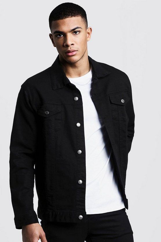 Mens Washed black Oversized Denim Jacket