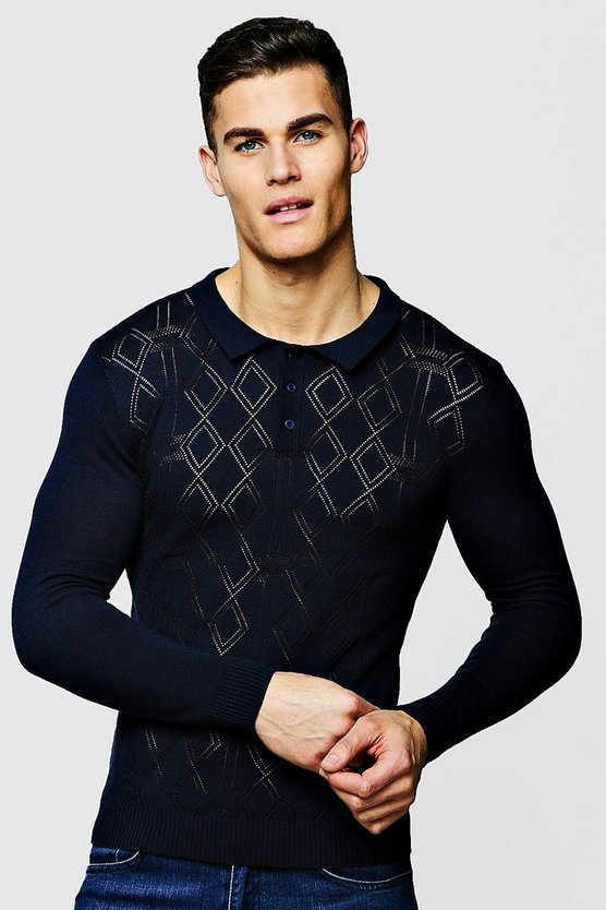 Diamond Knitted Long Sleeve Polo