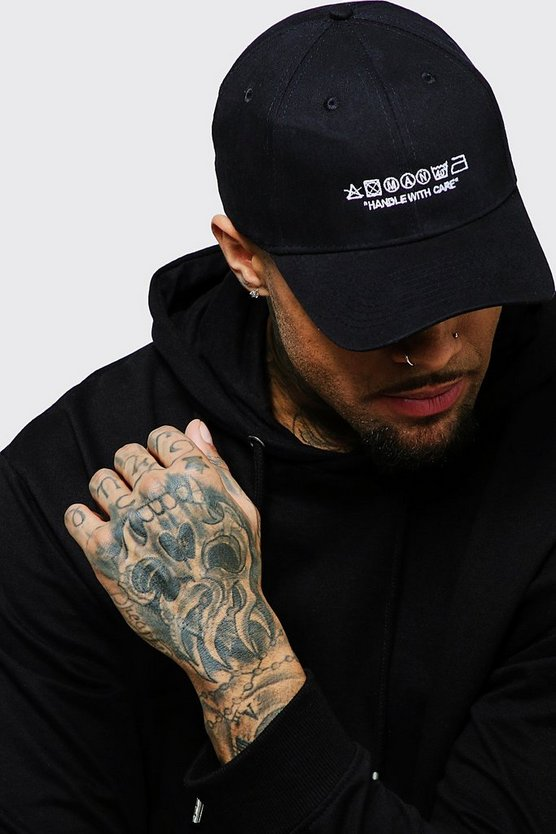 Black MAN Care Label Embroidered Cap