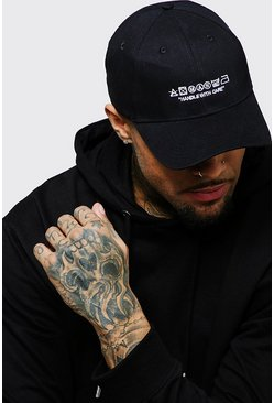 Mens Black MAN Care Label Embroidered Cap