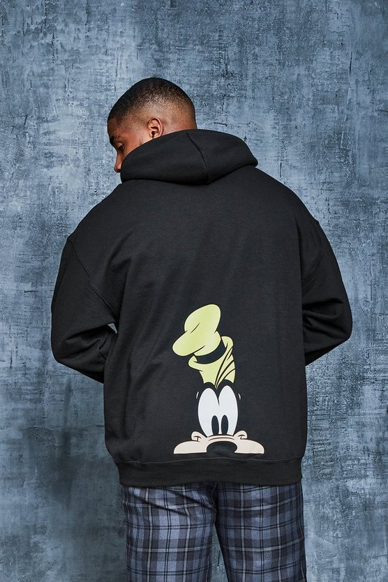 Black Big And Tall Disney Goofy Print Hoodie