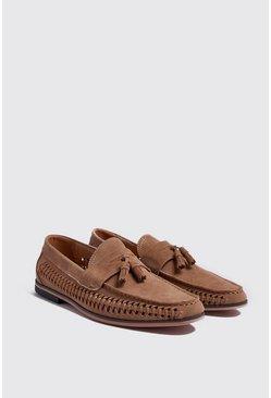Sand Faux Suede Weave Tassel Loafer