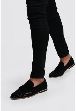 Black Faux Suede Weave Tassel Loafer