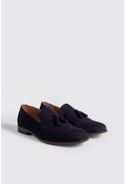 Navy Embossed Weave Faux Suede Tassel Loafer